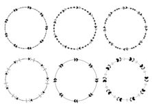 Set of round vector frames made of arrows. In cute modern style for graphic design and invitations stock illustration