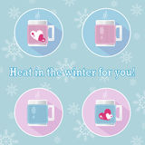 A set of round vector icons Warm Winter. Two white cups in a knitted cover blue and pink color and two cups in a knitted cover wit Royalty Free Stock Images