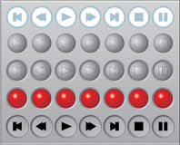A set of round vector media buttons Stock Photography