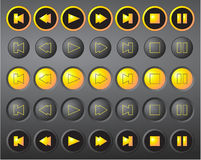 A set of round vector media buttons Stock Photo