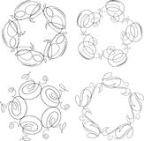 Set of 4 round vintage floral frames or swirls for your design. Vector illustration Royalty Free Stock Photo