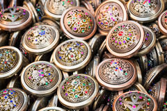 Set of round vintage pocket mirrors with pattern Royalty Free Stock Image