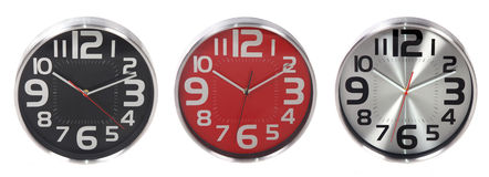 Set of round wall clocks Royalty Free Stock Photos
