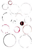 Set of round watercolor wine stains Royalty Free Stock Photo