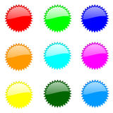 Set Of Round Website Buttons. Web Safe Colours - sRGB Colour Space stock illustration