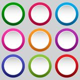 Set of round white buttons. Vector illustration stock illustration