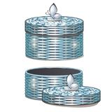 Set of round wicker baskets with lids. Vector illustration. Storage packaging Royalty Free Stock Photo