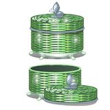 Set of round wicker baskets with lids. Vector illustration. Storage packaging Stock Photos