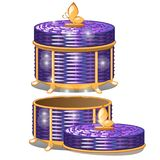 Set of round wicker baskets with lids. Vector illustration. Storage packaging Stock Image