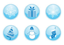 Set of round winter buttons Royalty Free Stock Photography