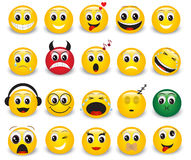 Set of round yellow emoticons Stock Photography