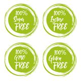 Set round zieleni etykietki z tekstem - laktoza uwalnia swobodnie, cukier, gluten swobodnie, gmo swobodnie ilustracja wektor