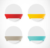 Set of rounded banners with ribbons Stock Photos