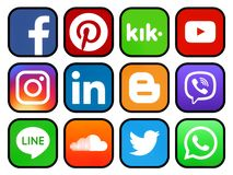 Set of rounded icons with black rim of social media stock photos