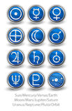 Set of rounded icons for the planets, sun and moon with Venus, M Stock Photo