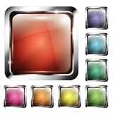 Set of rounded square backgrounds with a silver frame royalty free illustration