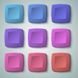 Set rounded square button design element01. Set of blank colors buttons for website or app. Vector eps10, matte plastic texture with glow effect design and Royalty Free Stock Photography