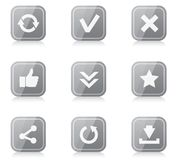 Set of rounded square internet icons with Stock Image