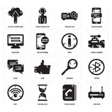 Set of Router, Phone book, Wifi, Search, Chat, Info, Monitor, Projector, Cloud computing icons. Set Of 16 simple  icons such as Router, Phone book, Hourglass Stock Photo