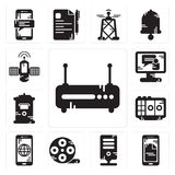 Set of Router, Smartphone, Server, Film reel, Voice recorder, Mailbox, Video call, Satellite icons. Set Of 13 simple editable icons such as Router, Smartphone Stock Photography