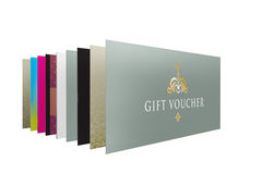 Set of a row of different designs for gift vouchers Stock Photos