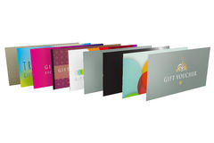 Set of a row of different designs for gift vouchers Stock Photography