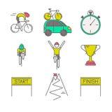 Set 9 Rowerowej rasy nowożytnych kolorowych ikon ilustracja wektor
