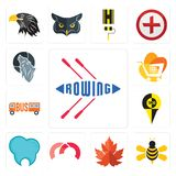 Set of rowing, honey bee, maple leaf, m, dental clinic, , trolley, wolf icons. Set Of 13 simple editable icons such as rowing, honey bee, maple leaf, m, dental Royalty Free Stock Image