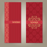 Set of royal deep red and beige gold banners. With pattern, border and sample text. empty blank template isolated on grey gradient background with shadows Stock Image