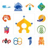 Set of royal family, orange lion, all in one, 88, rap, fern, superstar, lawn mower, lion paw icons. Set Of 13 simple editable icons such as royal family, orange Stock Image