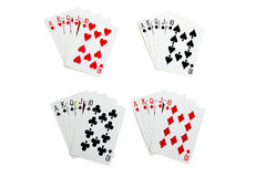 Set of royal flush cards for poker. Isolated Stock Photo