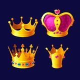 Set of royal gold crowns with gems isolated stock illustration