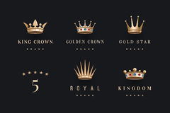 Set of royal gold crowns icon and logo Royalty Free Stock Image