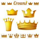 Set 2 of royal gold crowns isolated on white Stock Photography
