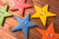 A set of royal icing gingerbread smile stars cookies Stock Photo