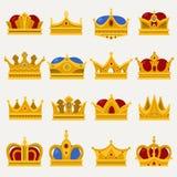 Set of royal king or prince crown, pope tiara Stock Photos