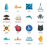 Set of royal lion, 3 triangle, sharks, disabled, archery, , happy thanksgiving, pillow, snowman icons. Set Of 16 simple  icons such as royal lion, 3 triangle Royalty Free Stock Photo