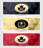 Set Royal triangle banners  black red gold Stock Photo