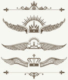 Set of royal winged crowns design elements Royalty Free Stock Photography