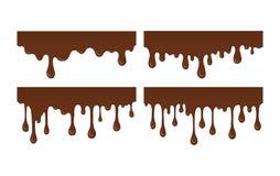 Set rozciekły czekoladowy kapinos ilustracja wektor