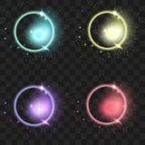 Set rozjarzeni światło skutki odizolowywający na przejrzystym ilustracji