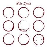 Set rozlewać wino plamy na białym tle, wektorowy illustrat Obraz Stock