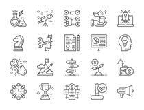 Set rozpocz?cie linii ikony Megafon, trofeum, strategia, pieni?dze drzewo i wi?cej, ilustracja wektor