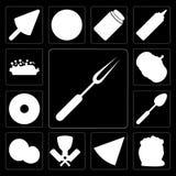 Set rozwidlenie, mąka, pizza, masarka, koks, łyżka, pączek, Pu royalty ilustracja