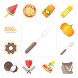 Set rozwidlenie, mąka, pizza, masarka, koks, łyżka, pączek, Pu ilustracja wektor