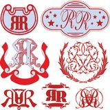 Set of RR monograms and emblem templates Royalty Free Stock Images
