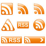 Set of RSS Buttons. And Icons Royalty Free Stock Photos