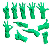 Set of rubber gloves hand signs Stock Images