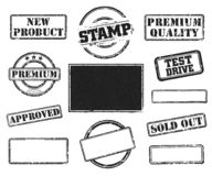 Set of rubber stamps stock images