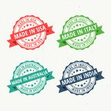 Set of rubber stamps for made in usa, australia, india and italy Royalty Free Stock Photography